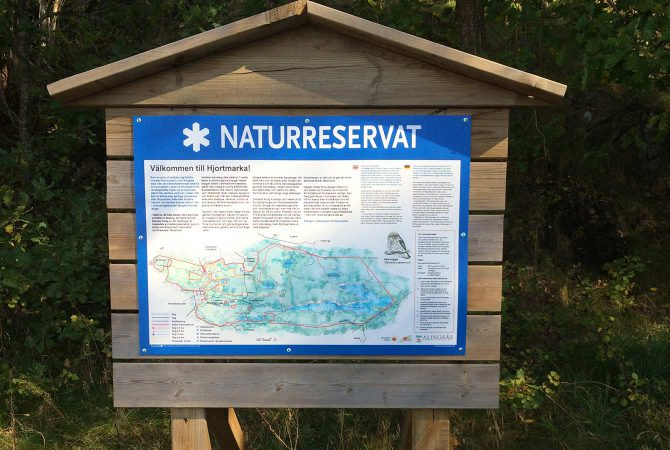 Översiktskarta till Hjortmarkens naturreservat